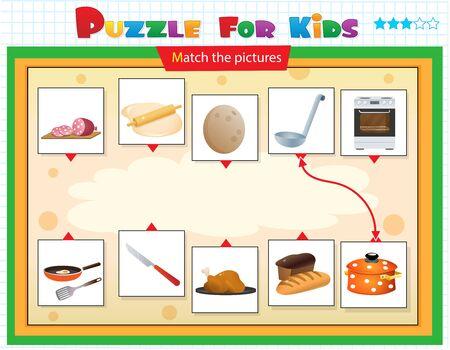Jeu d'association, jeu éducatif pour les enfants. Casse-tête pour les enfants. Associez le bon objet. Nourriture. Vaisselle et ustensiles de cuisine.