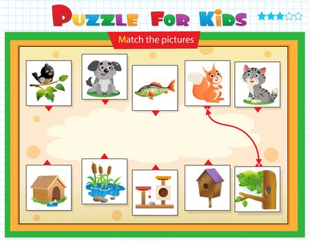 Matching game, education game for children. Puzzle for kids. Match the right object. Cartoon animals with their homes. Bird, dog, fish, squirrel, cat.