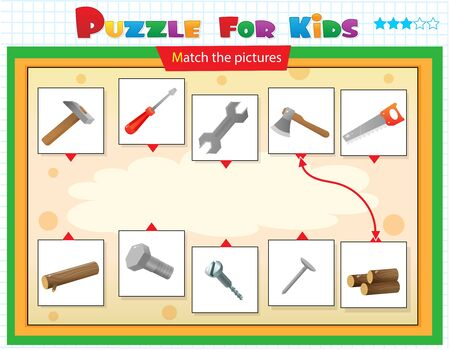 Matching game, education game for children. Puzzle for kids. Match the right object. Set of tools. Hammer, saw, axe, wrench, screwdriver.