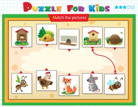 Matching game, education game for children. Puzzle for kids. Match the right object. Cartoon animals with their homes. Ant, chicken, fox, mouse, bee.