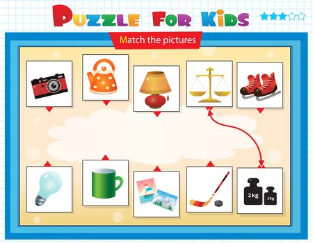 Matching game, education game for children. Puzzle for kids. Match the right object. Vektorové ilustrace
