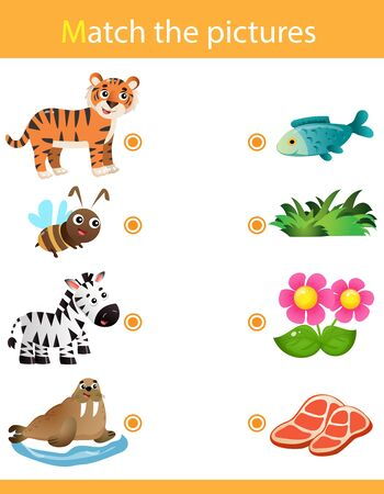 Matching game, education game for children. Puzzle for kids. Match the right object. Cartoon Animals and their Favorite Food. Tiger, bee, zebra, seal.