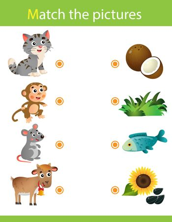 Matching game, education game for children. Puzzle for kids. Match the right object. Cartoon Animals and their Favorite Food. Cat, monkey, mouse, goat.