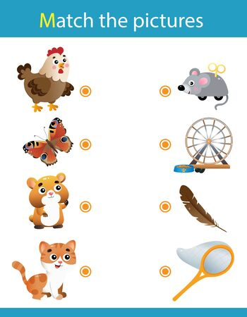 Matching game, education game for children. Puzzle for kids. Match the right object. Cartoon Animals. Chicken, butterfly, hamster, cat.