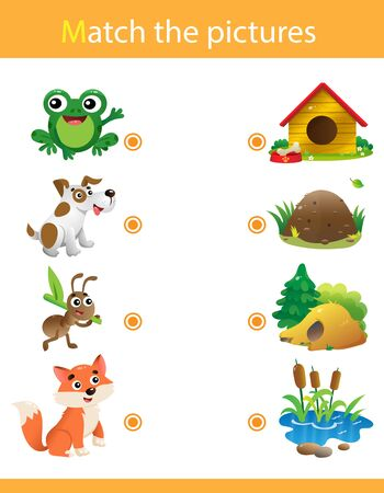 Matching game, education game for children. Puzzle for kids. Match the right object. Cartoon animals with their homes. Frog, dog, ant, fox.