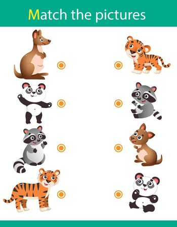 Matching game, education game for children. Puzzle for kids. Match the right object. Cartoon animals with their young. Kangaroo, panda, raccoon, tiger. 일러스트