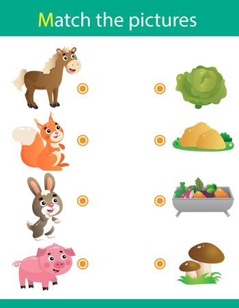 Matching game, education game for children. Puzzle for kids. Match the right object. Cartoon Animals and their Favorite Food. Horse, squirrel, hare, pig.