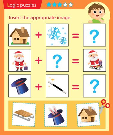 Logic puzzle for kids. Matching game, education game for children. Match the right object. Worksheet vector design for preschoolers.
