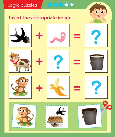 Logic puzzle for kids. Matching game, education game for children. Match the right object. Worksheet vector design for preschoolers. 일러스트