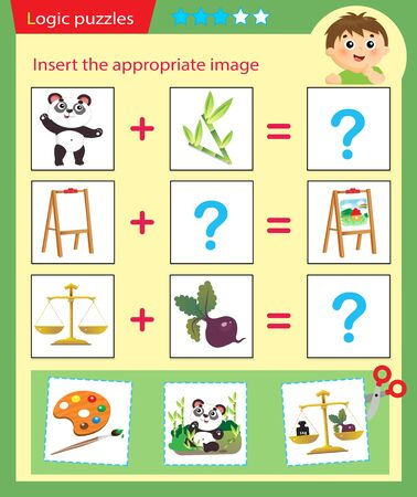 Logic puzzle for kids. Matching game, education game for children. Match the right object. Worksheet vector design for preschoolers. Ilustração Vetorial