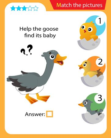 Matching game, education game for children. Puzzle for kids. Match the right object. Help the goose find its nestling.