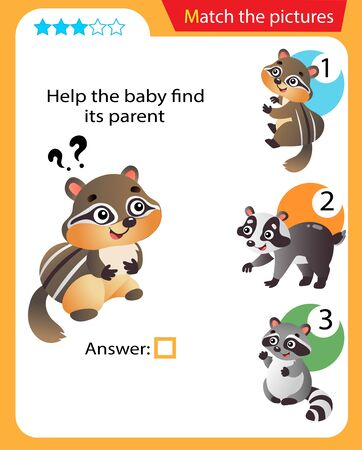 Matching game, education game for children. Puzzle for kids. Match the right object. Help the little chipmunk find its parent. 일러스트