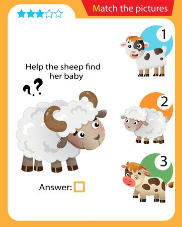 Matching game, education game for children. Puzzle for kids. Match the right object. Help the sheep find its cub.