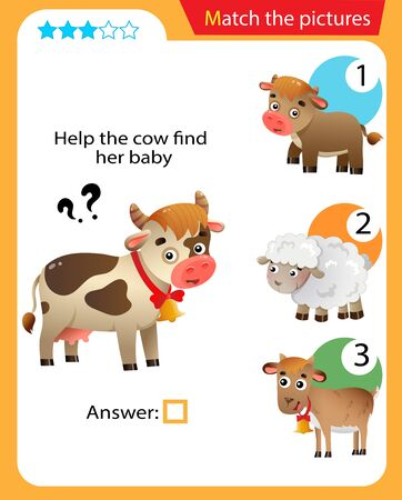 Matching game, education game for children. Puzzle for kids. Match the right object. Help the cow find her cub. 일러스트