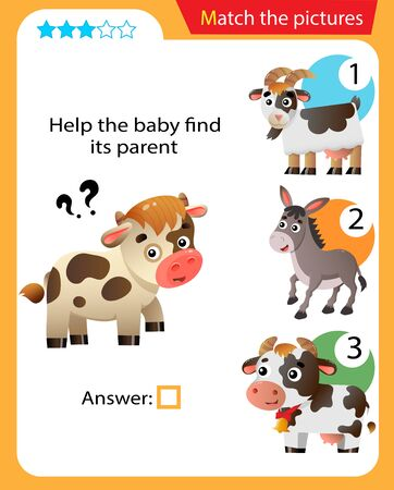 Matching game, education game for children. Puzzle for kids. Match the right object. Help the little calf find its parent.