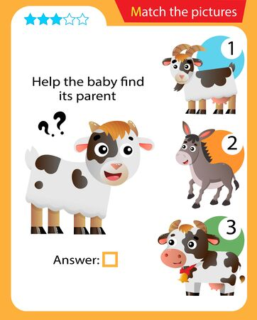 Matching game, education game for children. Puzzle for kids. Match the right object. Help the little goat find its parent.