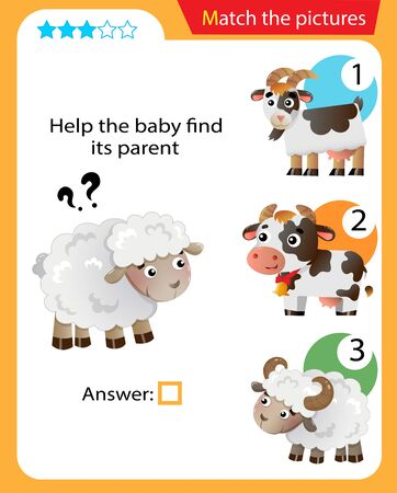 Matching game, education game for children. Puzzle for kids. Match the right object. Help the little sheep find its parent.