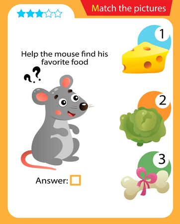 Matching game, education game for children. Puzzle for kids. Match the right object. Help the mouse find his favorite food.