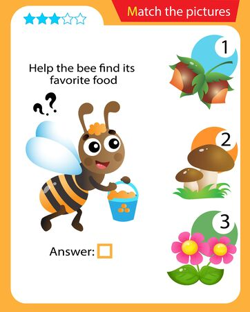 Matching game, education game for children. Puzzle for kids. Match the right object. Help the bee find its favorite food.