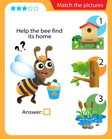 Matching game, education game for children. Puzzle for kids. Match the right object. Help the bee find its home.