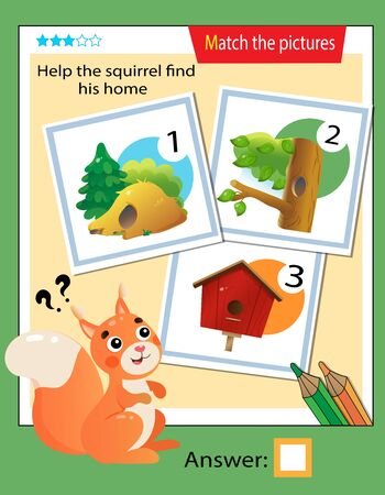 Matching game, education game for children. Puzzle for kids. Match the right object. Help the squirrel find his home.
