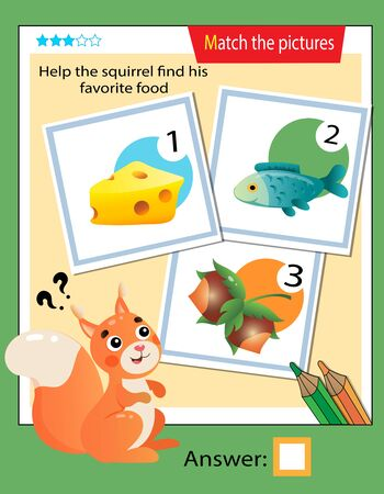 Matching game, education game for children. Puzzle for kids. Match the right object. Help the squirrel find his favorite food.