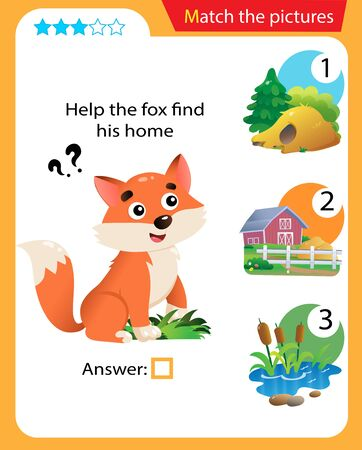 Matching game, education game for children. Puzzle for kids. Match the right object. Help the fox find his home. 일러스트