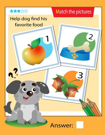 Matching game, education game for children. Puzzle for kids. Match the right object. Help the dog find his favorite food. 일러스트