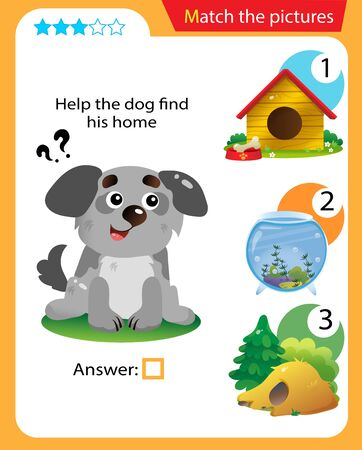 Matching game, education game for children. Puzzle for kids. Match the right object. Help the dog find his home. 일러스트