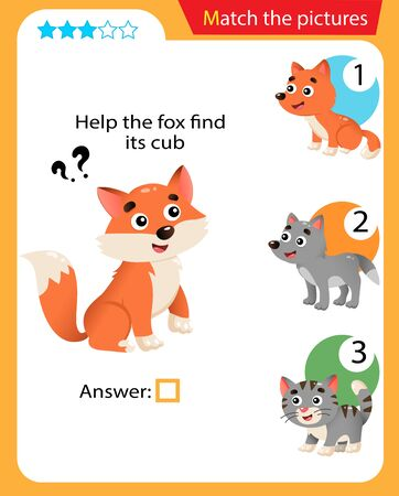 Matching game, education game for children. Puzzle for kids. Match the right object. Help the fox find its cub. 일러스트
