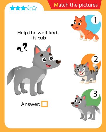 Matching game, education game for children. Puzzle for kids. Match the right object. Help the wolf find his cub. 일러스트