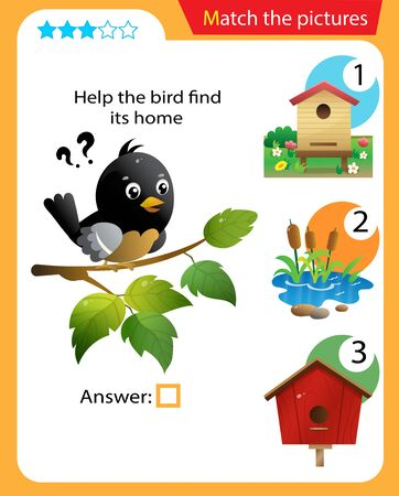 Matching game, education game for children. Puzzle for kids. Match the right object. Help the bird find its home. 일러스트