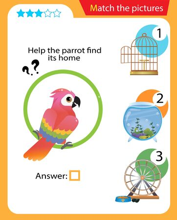 Matching game, education game for children. Puzzle for kids. Match the right object. Help the parrot find its home.