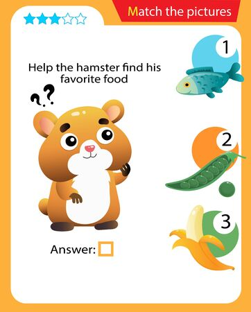 Matching game, education game for children. Puzzle for kids. Match the right object. Help the hamster find his favorite food.