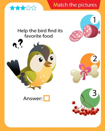 Matching game, education game for children. Puzzle for kids. Match the right object. Help the bird find its favorite food.