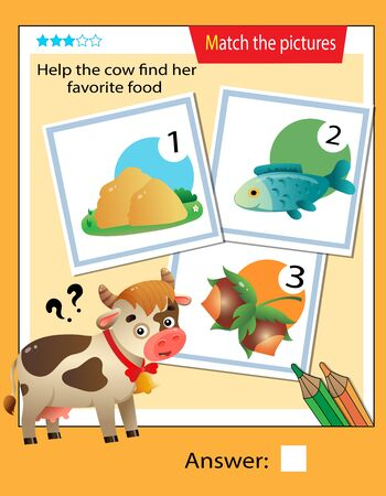 Matching game, education game for children. Puzzle for kids. Match the right object. Help the cow find her favorite food.