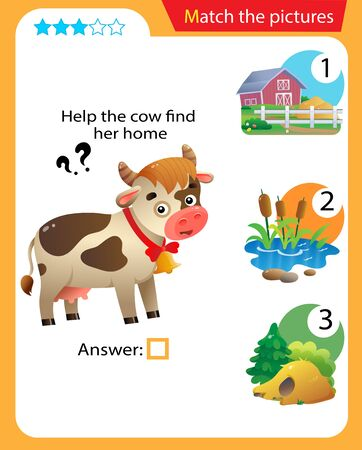 Matching game, education game for children. Puzzle for kids. Match the right object. Help the cow find her home. 일러스트