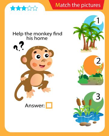 Matching game, education game for children. Puzzle for kids. Match the right object. Help the monkey find his home.