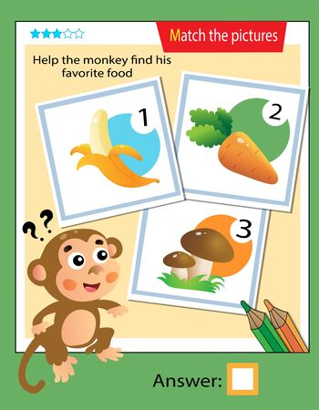 Matching game, education game for children. Puzzle for kids. Match the right object. Help the monkey find his favorite food.