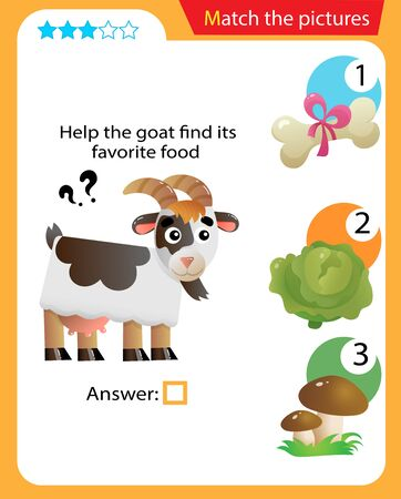 Matching game, education game for children. Puzzle for kids. Match the right object. Help the goat find its favorite food.