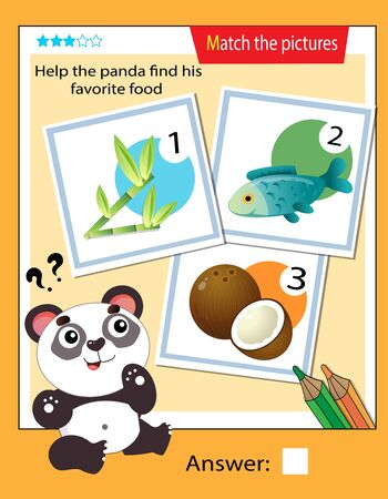 Matching game, education game for children. Puzzle for kids. Match the right object. Help the panda find his favorite food. 일러스트