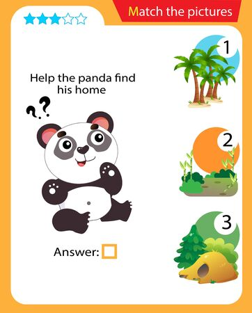 Matching game, education game for children. Puzzle for kids. Match the right object. Help the panda find his home.