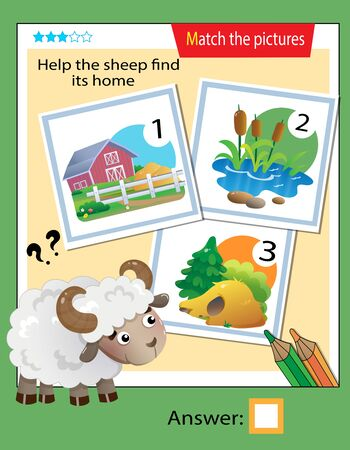 Matching game, education game for children. Puzzle for kids. Match the right object. Help the sheep find its home. 일러스트