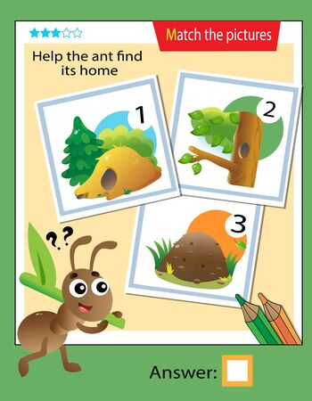 Matching game, education game for children. Puzzle for kids. Match the right object. Help the ant find its home. 일러스트