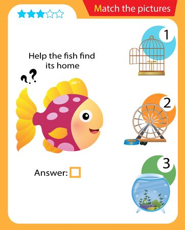 Matching game, education game for children. Puzzle for kids. Match the right object. Help the fish find its home. 일러스트