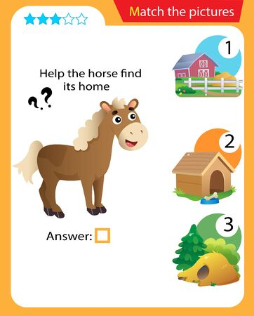 Matching game, education game for children. Puzzle for kids. Match the right object. Help the horse find its home. 일러스트