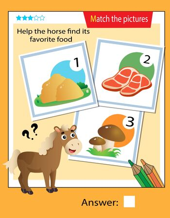 Matching game, education game for children. Puzzle for kids. Match the right object. Help the horse find its favorite food.