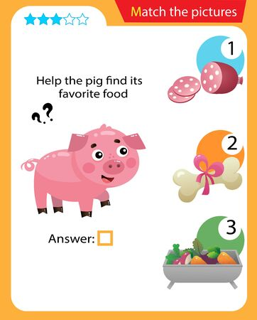 Matching game, education game for children. Puzzle for kids. Match the right object. Help the pig find its favorite food.