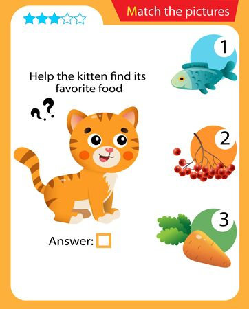 Matching game, education game for children. Puzzle for kids. Match the right object. Help the cat find his favorite food.