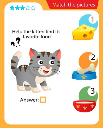 Matching game, education game for children. Puzzle for kids. Match the right object. Help the cat or kitten find his favorite food.
